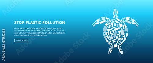 Fototapeta Stop ocean water pollution - turtle shape made of single use plastic trash. obraz