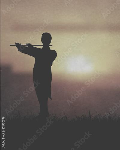 An Artist Playing A Flute Under The Sunset Fototapet