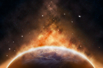 Planet Earth outer space with orange Heat radius at North America area from the Space at Night Global catasrtophe concept Elements earth of this Image Furnished by NASA