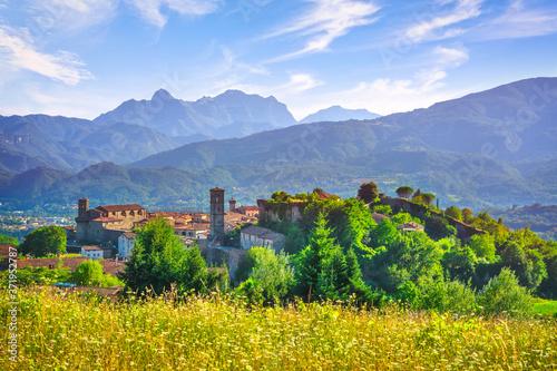 Fototapeta Castiglione della Garfagnana village and Apuan Alps