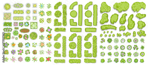 Green fence, trees, bushes, flowers and flower beds. (Top view) Different plants and trees vector set for architectural or landscape design. (View from above) Nature green spaces.