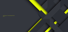 Banner Web Design Template Gray And Green Geometric Stripes Overlapping With Shadow On Dark Background