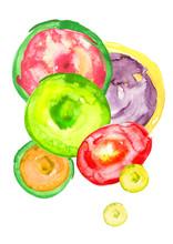 Watercolor Rainbow Circles, Ba...