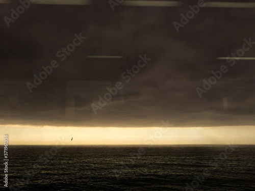 A storm approaches on the mediterranean sea. Fototapet