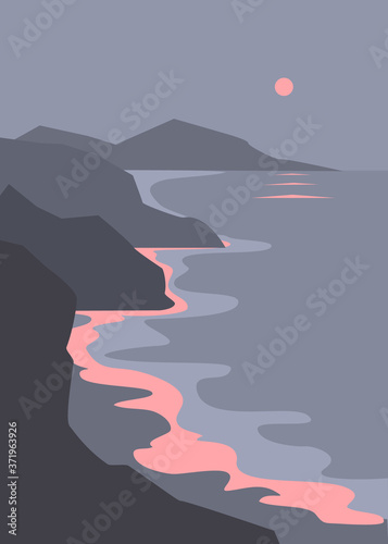 evening seascape, rocky coastline shore and pink sunset vector print ilustration Fototapet