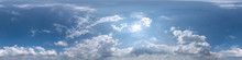 Clear Blue Sky With Beautiful Clouds. Seamless Hdri Panorama 360 Degrees Angle View Without Ground For Use In 3d Graphics Or Game Development As Sky Dome Or Edit Drone Shot