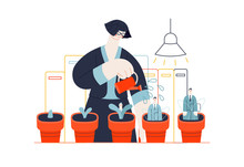 Business Topics - Human Resources. Flat Style Modern Outlined Vector Concept Illustration. HR Manager In The Office, Watering Flower Pots With Growing Managers In Them. Business Metaphor.