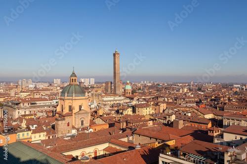 Carta da parati bologna, due torri, panorama, tetti, città