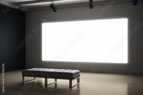 Photo Contemporary exhibition room with blank projection screen