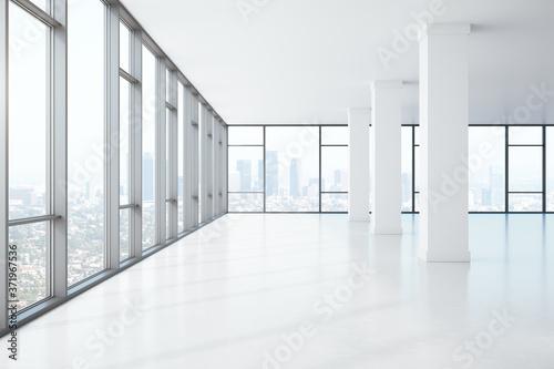 Fototapeta Big window spacious hall with concrete columns