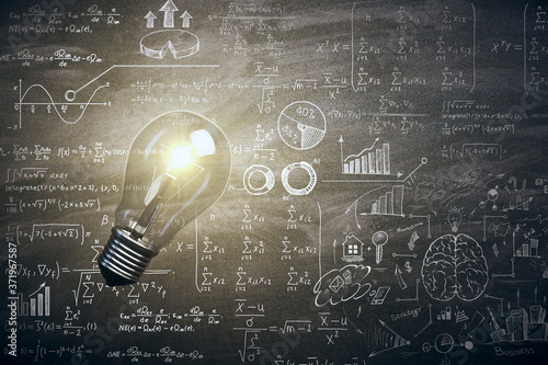 Fotografie, Obraz Illuminated lamp with mathematical formulas.