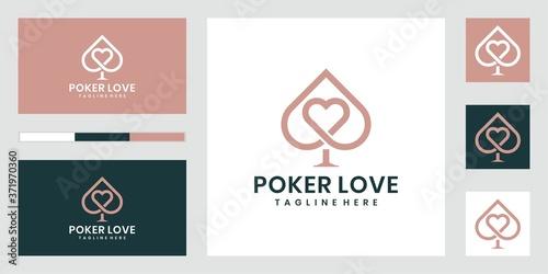 Vászonkép Poker Love Logo. elegant logo design. Vector premium