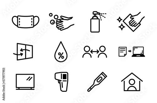 Obraz na plátně 感染症対策のアイコンのセット/予防/コロナ/イラスト/インフルエンザ/手洗い