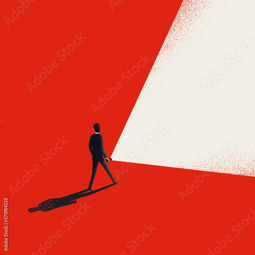 Business leader vector concept with businessman holding flashlight and leading way forward Fotobehang