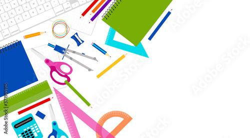 sfondo, materiale scolastico, scuola, studiare Billede på lærred