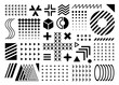 black flat memphis geometric design elements collection.Set of different details for graphic layout designing. Isolated on white background