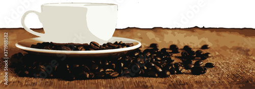 Leinwand Poster cup of coffee beans