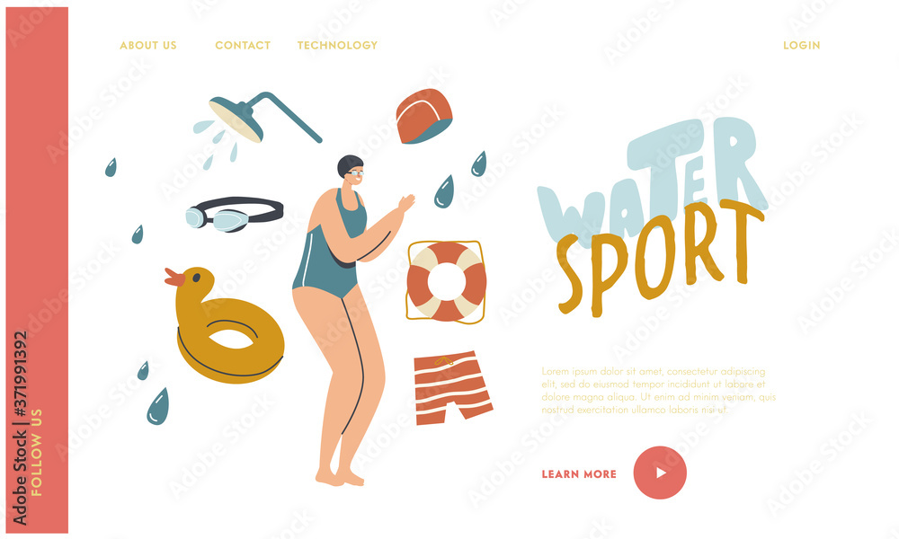 Fototapeta Training, Learning to Swim, Sport Landing Page Template. Swimming Class with Swimmer Woman in Pool. Female Jumping