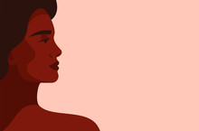 Side View Face Of A Young Strong African Woman On Light Background. Concept Of Fighting For Equality And Black Women Empowerment Movement. Vector Horizontal Banner.
