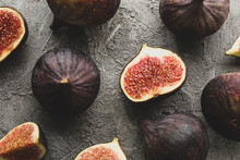 Fresh Fig Fruits And Slices On Gray Background, Top View