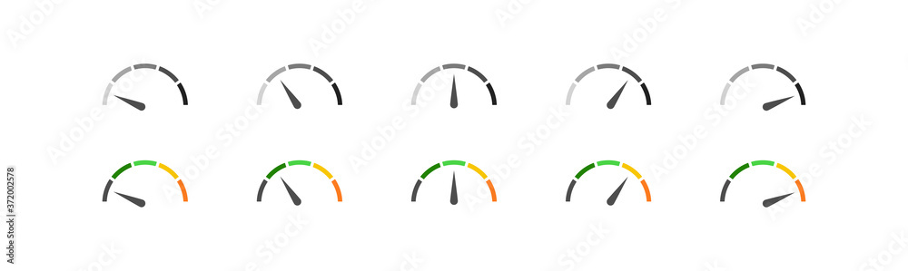Fototapeta Speedometer simple icon set in color and black. Indicator concept in vector flat