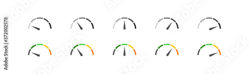 Tela Speedometer simple icon set in color and black