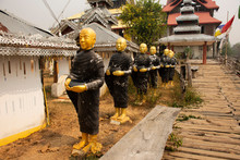 Buddha Statue With Su Tong Pae Bamboo Bridge For Foreign Travelers Thai People Travel Visit And Respect Praying In Phu Sa Ma Temple Of Ban Kung Mai Sak Village At Pai City In Mae Hong Son, Thailand
