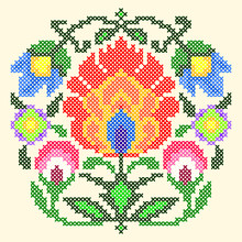 Vector Illustration Cross Stitch Ornament