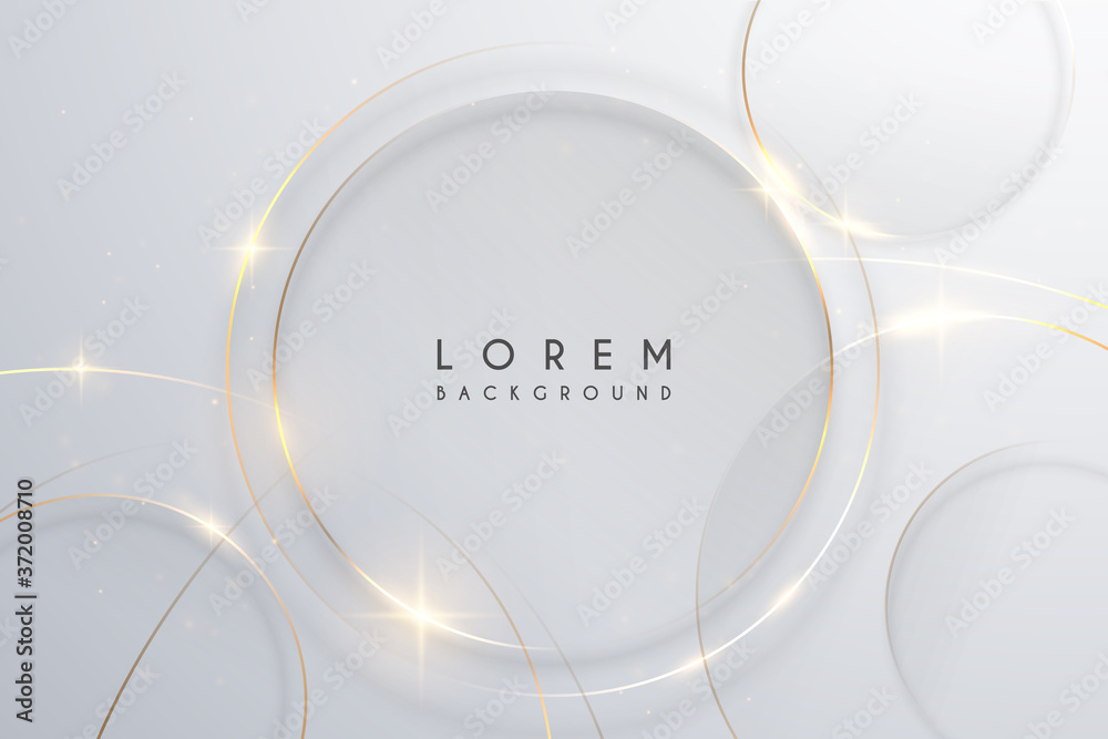 Fototapeta Abstract gold circle lines on white background
