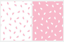 Baby Shower Seamless Vector Pattern With Pink And White Little Footprints. Pink Baby Feet Isolated On A White Background. Lovely Baby Girl Party Print.