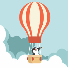 Panguin Using A Telescope With Hot Air Balloon