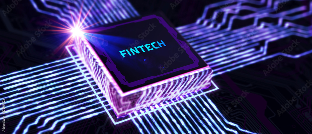Fototapeta Fintech -financial technology concept.Young businessman  select the icon Fintech on the virtual display.