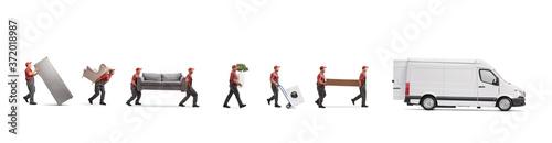 Fototapeta Movers loading household items in a van obraz