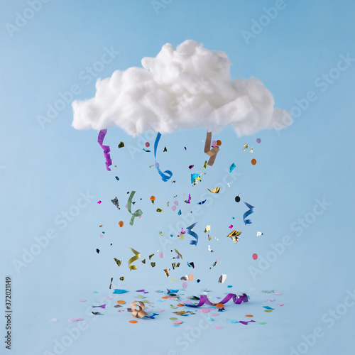 Cuadros en Lienzo Party cloud with colorful confetti and streamers