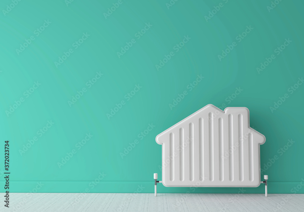 Fototapeta Heating radiator in the shape of a house. Home energy. 3D Rendering