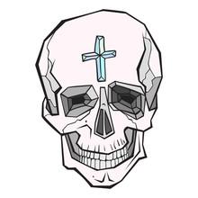 Encrusted Hand Drawn Skull. Bl...