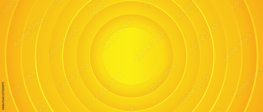Fototapeta Bright sunny yellow dynamic abstract background. Modern lemon orange color. Fresh business banner for sales, event, holiday, party, halloween, birthday, falling. Fast moving 3d lines with soft shadow