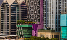 Bangkok, Thailand - Aug 13, 2020 : Detail Of Modern Office Building In Downtown Bangkok. Modern Architecture Building Background Good For Patterns And Backgrounds. Selective Focus.
