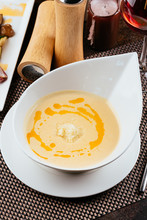 Cheese Soup In A White Plate