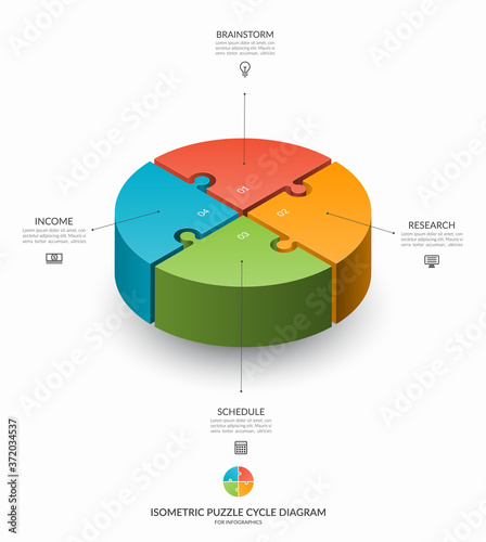 Fototapeta Infographic isometric puzzle circular template. Cycle diagram with 4 steps, pieces, parts. 3d process chart that can be used for report, business analytics, data visualization and presentation. obraz