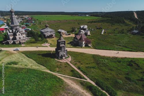 Fototapeta Aerial Townscape of Village Varzuga located in Northwestern Russia on the Kola P