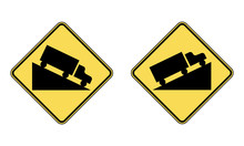 Steep Ascent And Steep Descent Warning Road Sign Set. Vector Illustration Of Danger Hill Caution Traffic Sign. Attention Yellow Diamond Shaped Mark Isolated On White Background.