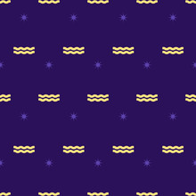 Zodiac Seamless Pattern. Repeating Gold Aquarius Sign With Stars On The Purple Background. Vector Horoscope Symbol