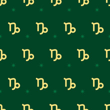 Zodiac Seamless Pattern. Repeating Capricorn Gold Sign With Stars On The Green Background. Vector Horoscope Symbol