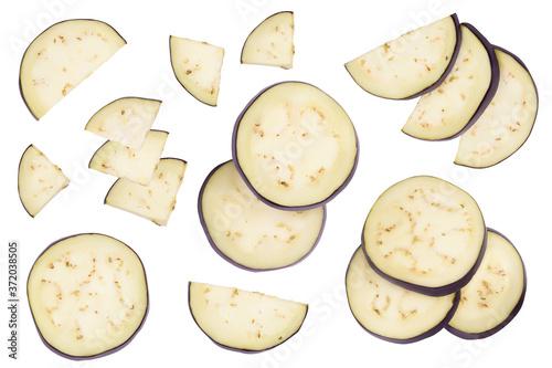 Fotografía Eggplant or aubergine slices isolated on white background