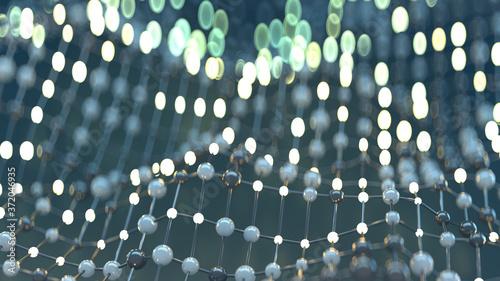 Fotografie, Obraz Floating mesh of network abstract 3D render illustration