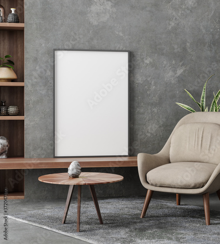 Canvastavla Mockup poster in loft interior, industrial style, 3d render
