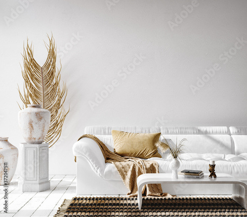 Bohemian interior background, 3D render Fototapet