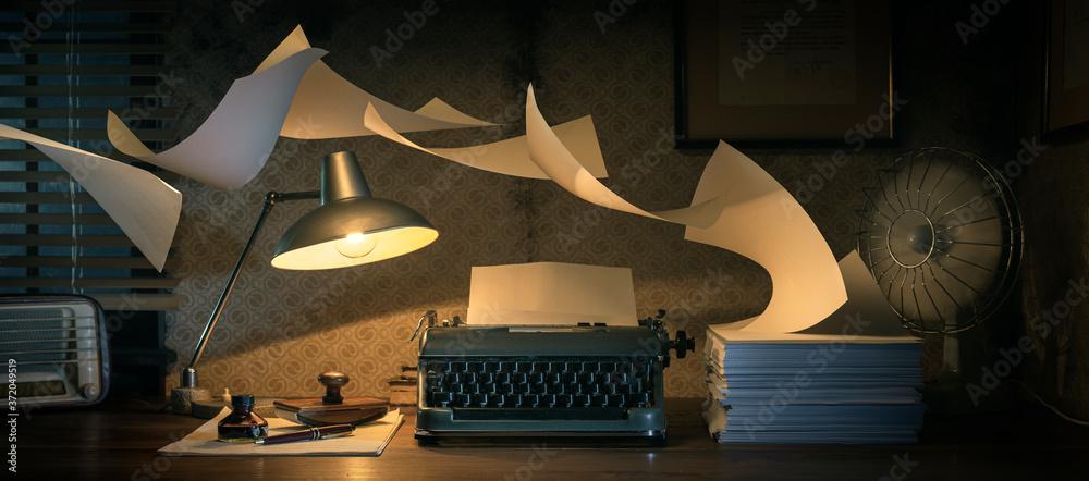 Fototapeta Vintage writer's desktop with flying sheets