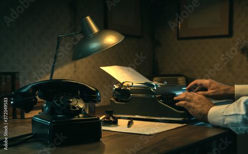 Film noir journalist working at office desk Wallpaper Mural